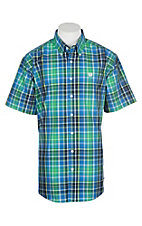 Cinch Men's Blue and Green Plaid S/S Western Shirt