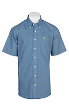 Cinch Men's Royal Blue and Green Mini Print S/S Western Shirt