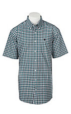 Cinch Men's Teal Red and Black Plaid S/S Western Shirt