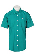 Cinch Men's Teal Sqaure Print S/S Western Shirt