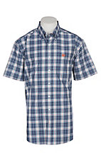 Cinch Men's Navy and Orange Plaid S/S Western Shirt