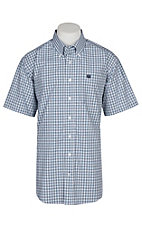 Cinch Men's Teal and White Plaid S/S Western Shirt
