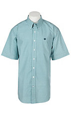 Cinch Men's Turquoise Windowpane Plaid S/S Western Shirt