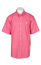 Cinch Men's Pink Geo Print S/S Western Shirt