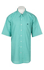 Cinch Men's Turquoise Ditzy Floral Print S/S Western Shirt
