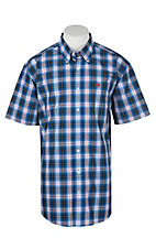 Cinch Men's Blue, Black and Red Traditional Plaid Short Sleeve Western Shirt