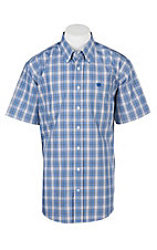 Cinch Men's Blue and Grey Plaid Short Sleeve Western Shirt