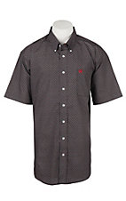 Cinch Men's Black and Red Geo Diamond Print Short Sleeve Western Shirt