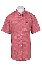 Cinch Men's Red Square Print Short Sleeve Western Shirt