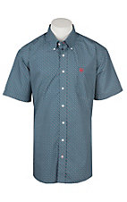 Cinch Men's Teal Oval Print Cavender's Exclusive Short Sleeve Western Shirt