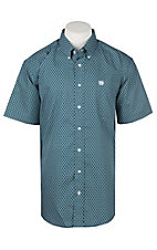 Cinch Men's Teal with White Barbed Wire Grid Cavender's Exclusive Short Sleeve Western Shirt