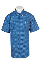 Cinch Men's Blue with White and Black Diamond Print Cavender's Exclusive Short Sleeve Western Shirt