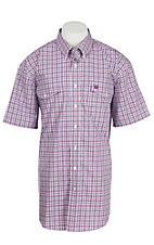 Cinch Men's White and Purple Plaid S/S Shirt