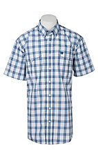Cinch Men's White, Blue, and Black Plaid S/S Shirt