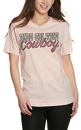 Bling A-Gogo Women's Light Pink Dibs on the Cowboy Short Sleeve T-Shirt