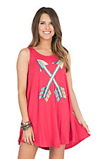Judith March Women's Pink with Serape Patch Arrows Sleeveless Tent Dress