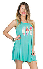 Judith March Women's Turquoise with Feather Embroidery Sleeveless Dress