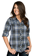 Affliction Women's Ace High Grey & Blue Plaid Long to 3/4 Sleeve Shirt