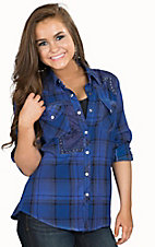 Affliction Women's Canter Blue Plaid Long to 3/4 Sleeve Western Shirt
