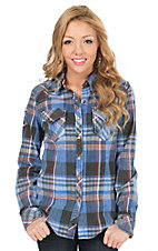 Affliction Women's Blue & Maroon Plaid Long Sleeve Western Shirt