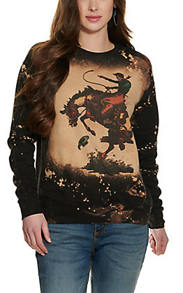 Bling-A-Gogo Women's Black Bleached Bronc Rider Long Sleeve Sweatshirt