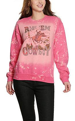 Bling-A-Gogo Women's Pink Bleached Ride 'Em Cowboy Long Sleeve Sweatshirt