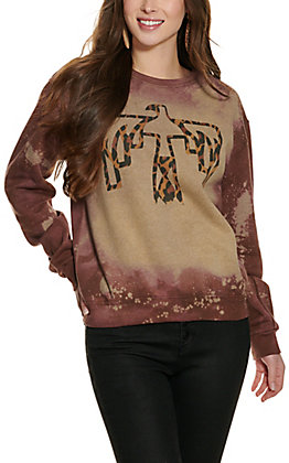 Bling-A-Gogo Women's Brown Bleached Leopard Thunderbird Long Sleeve Sweatshirt