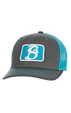 Stackin Bills Charcoal with Turquoise Logo and Mesh Snap Back Cap