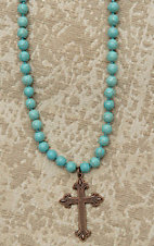 Jewelry Junkie Turquoise Beaded with Copper Cross Necklace