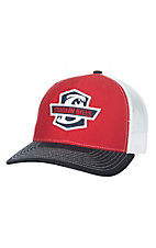 Stackin Bills Red with Logo Patch and Mesh Snap Back Cap