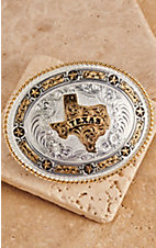 Montana Silversmiths Medium Oval Texas w/ Stars Buckle