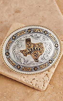 Montana Silversmiths Medium Oval Texas with Stars Buckle