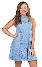 Judith March Women's Blue Lace with High Neck Sleeveless Dress