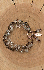 Jewelry Junkie Clear Beaded with Copper Chain Bracelet