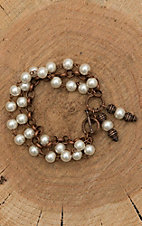 Jewelry Junkie Pearl Beaded with Copper Chain Bracelet