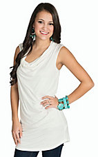 Mystree Women's Off White Sleeveless Cowl Neck Top