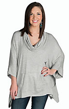 Mystree Women's Heather Grey with Cowl Neck Loose Top
