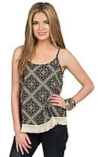 Surf Gypsy Women's Navy Diamond Print Fringe Trim Top