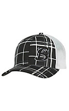 Stackin Bills Black and White Plaid with Embroidered Black Logo White Mesh Back Snap Back Cap