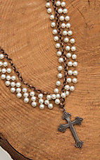 Jewelry Junkie Bronze with Pearl Beading and Cross Pendant Multi Chain Necklace