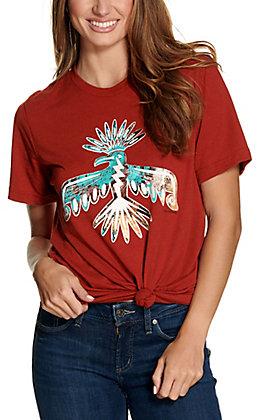 Benita Ceceille Women's Rust Peyote Bird Graphic Short Sleeve T-Shirt
