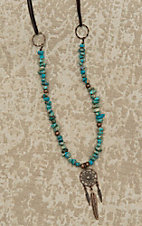 Jewelry Junkie Brown Leather with Turquoise Beading and Dream Catcher and Tassel Pendant Necklace