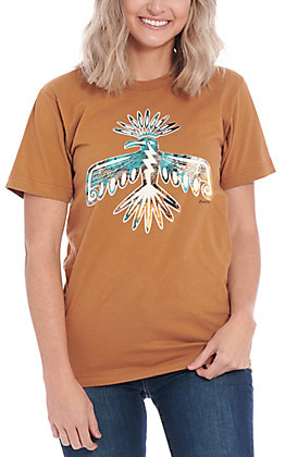 Benita Ceceille Women's Camel Peyote Bird Graphic Short Sleeve T-Shirt