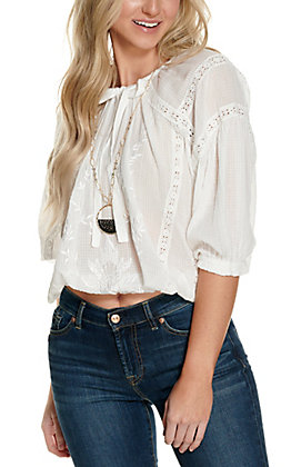 Magnolia Lane Women's White with Tonal Embroidery and Lace Long Sleeve Fashion Top