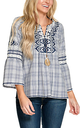 Magnolia Lane Women's Blue Plaid with Embroidery Long Bell Sleeve Fashion Top
