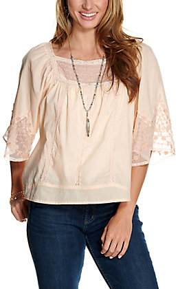 Magnolia Lane Women's Blush with Lace and Embroidery 3/4 Sleeve Fashion Top