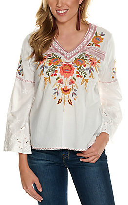 Magnolia Lane Women's White with Floral Embroidery Long Bell Sleeves Fashion Top