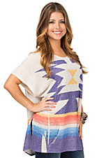 Vintage Havana Women's Natural with Multicolor Aztec Print Baja Hoody