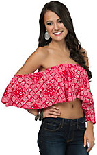 Vintage Havana Women's Red & White Bandana Print Ruffle Bandeau Fashion Top