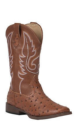 Roper Youth Brown Ostrich Print Square Toe Western Boots